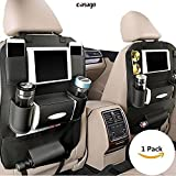 #1: Casago Pu Leather Car Seat Back Organizer and iPad mini Holder, Universal Use as Car Backseat Organizer for Kids, Storage Bottles, Tissue Box, Toys (Pack of 1 - Black)