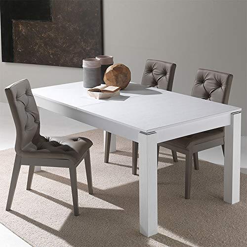 M-029 Table avec rallonge Couleur Bois Blanc Caterina