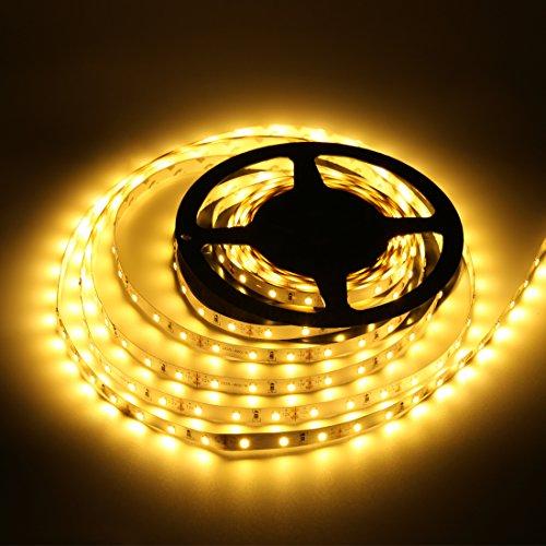 Preisvergleich Produktbild LEDMO Warmweiß LED Streifen 5 Meter läng,  lichtband mit 300 LEDs (SMD2835),  inkl. 12V 60W Netzteil für den Innenraum