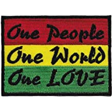 """REGGAE & RASTA One Uno People Gente, One Uno World Mundial, One Love Amor PATCH PARCHE Iron-On / Sew-On Officially Licensed Artwork, 2.2"""" x 3"""" EMBROIDERED BORDADO Patch"""