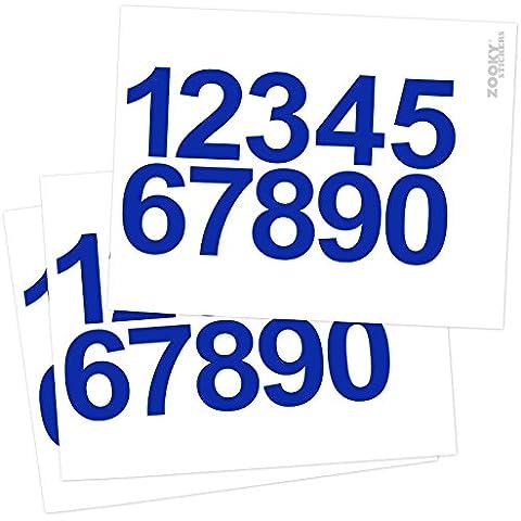 Zooky® 30 piezas decoracion de Cumpleaños Aniversario pegatinas pared Todos los Números de 0 - 9 adhesivos universal, muy grande, Brillante, Azul