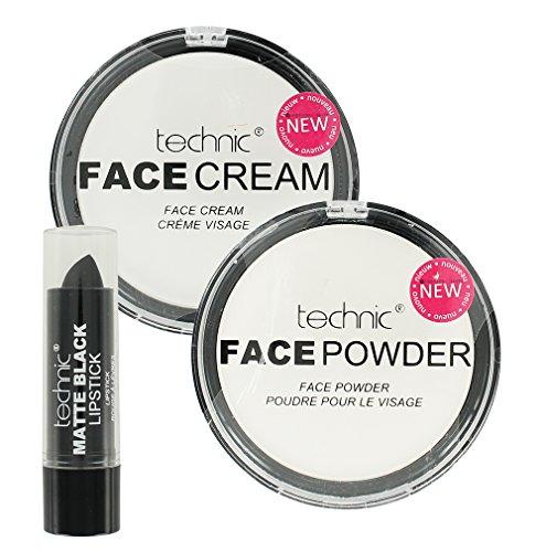 Technic Maquillaje De Halloween Set Blanco Base Crema Blanca Polvo y Negro Mate Pintalabios