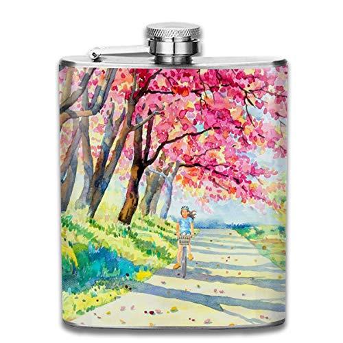 Kundengebundenes Aquarell-Rosa-wildes Himalajakirschblüten-weibliches Reiten auf die Kandare-Edelstahl-Wein-Flasche, personalisiertes Flaschen-Geschenk