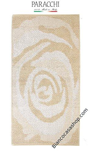 Tappeto bagno con antiscivolo brevettato PARACCHI Art. ROSE (A) beige 65*140