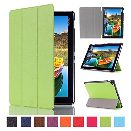 WindTeco ASUS ZenPad 10 Hülle, Ultra Dünn Leder Schutzhülle mit Auto Aufwachen/Schlaf Funktion für ASUS Zenpad 10 Z301MFL / Z2301ML / Z300M / Z300C / Z300CG / Z300CL Tablet, Grün