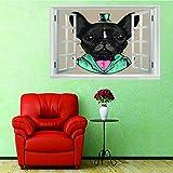 3D Fenêtre Autocollant Peinture Murale Art Affiche PVC Autocollant Noir Tête De...