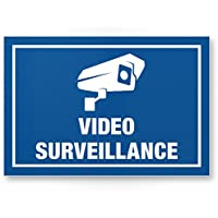 Video Surveillance Panneau (Bleu, 30x 20cm)–Panneau Attention/Attention vidéo surveillance–Panneau d'avertissement/pictogramme vidéo via–dessinée/avertissement