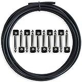 Kit de Cables para Pedalera Sin Soldadura de Crosby Audio – Cable de 10 pies y 10 Conectores Hacen 5 Cables de Parche para Pedales de Efectos de Guitarra, No Es Necesario Pelar Cables