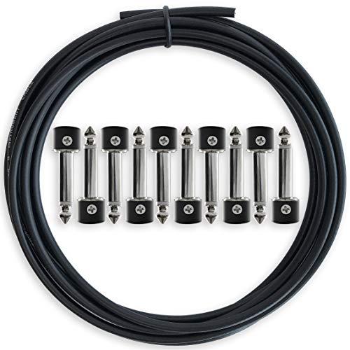 Kit de Cables para Pedalera Sin Soldadura - No Es Necesario Pelar Cables, Cable de 3 m y 10 Conectores Hacen 5 Cables de Parche para Pedales de Efectos de Guitarra