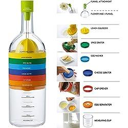 Locisne 8 en 1 Outil de cuisine,Multipurpose Plastic Bin bouteilles Cuisine Gadget(entonnoir,presse-citron,épices râpe,pilon d'oeuf,fromage râpe,seperator d'œuf,une tasse à mesurer,ouvre-boîtes)
