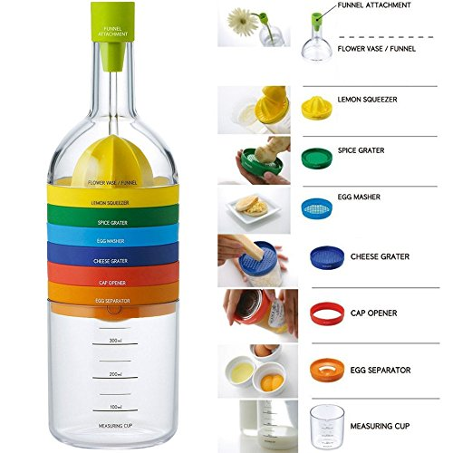 Locisne 8 in 1 Küche-Werkzeug,Plastikbehälter-Flasche Küche Kochen-Werkzeuge Küche Gadget(Trichter, Zitronepresse, Gewürzreibe, Eiermeißel, Käsereibe, Eierseparator, Messschale, Dosenöffner)