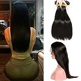 360 Lace Frontale 360 Avec Tissage En Lot 3 Bundles Weave Straight Human Hair Bresilien Lisse Virgin Remy Hair (20 22 24 +18(360))