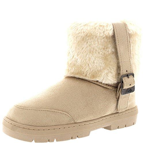 Womens Cuffed Fur Lined Side Buckle Ankle Pull On Flat Winter Shoe...