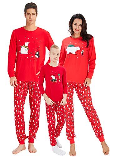 Raiserven set pigiama natalizio in famiglia set babbo natale orso papà stampato a manica lunga + pantaloni pigiameria per donna uomo ragazzi bambinecoperta invernale pjs homewear in due pezzi 4-5t
