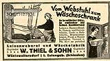 1925 - Inserat / Anzeige: VOM WEBSTUHL ZUM WÄSCHESCHRANK / THIEL UND SOHN - Grösse : ca. 80 x 45 Millimeter - alte Werbung / Originalwerbung/ Printwerbung / Anzeigenwerbung / Advertisement