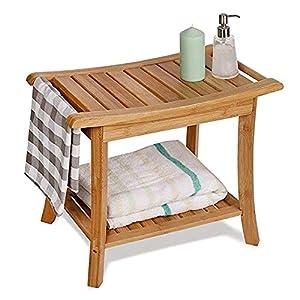 ZQDP LYX® Taburete de baño, baño Taburete Engrosamiento bambú Madera Maciza baño Impermeable Antideslizante Taburete de…