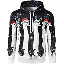 Bellaluee Christmas Couple 3D Hooded Sweater Sets of Digital Printing Long-Sleeved Clothes Europe Christmas
