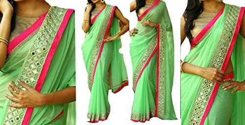 I-Brand Georgette Saree With Blouse Piece (Isunsa667-Mix_Green_Free Size)