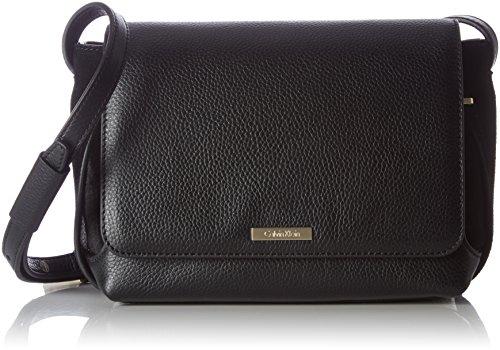 Calvin Klein Damen Victori4 Flap Crossbody Umhängetasche, Schwarz (Black), 9x15.5x25 cm (Cross Flap Kleine Body)