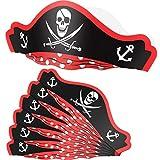 SATINIOR 6 Confezioni Cappelli da Pirata Cappelli da Festa in Cartone Cappelli da Pirata Regolabili in Carta per Bomboniere per Feste di Compleanno per Pirati di Halloween