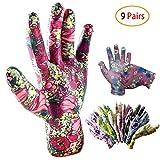 Schneespitze 9 Paar Arbeitshandschuhe,Mehrfarbig Gartenhandschuhe Flower,Garten Handschuhe Damen für Gartenarbeit Hausarbeit,Blumenmotiv,Zufällige Farbe