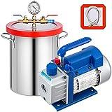 Mophorn Bomba de Vacío 3CFM 1/4HP Bomba de Vacío para Aire Acondicionado de una Etapa con Cámara de Vacío de 5 Galones