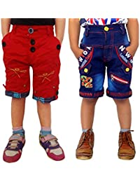 AD & AV PACK OF TWO COTTON SHORTS(ONE DENIM COTTON AND ONE RED CRUSH COTTON SHORTS)