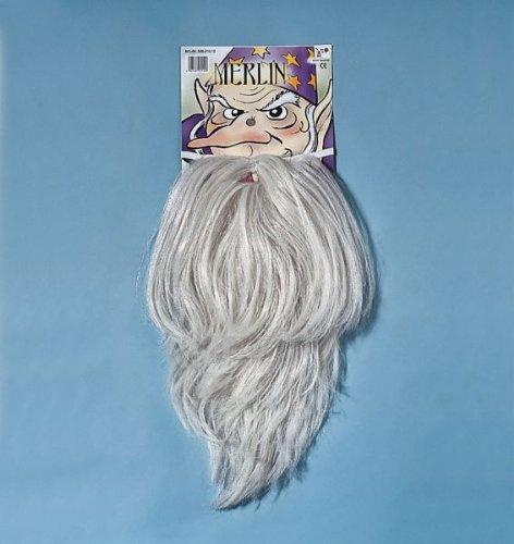 Merlin Kostüm Bart (Karneval Zubehör Bart Merlin in flachsblond zum Zauberer)