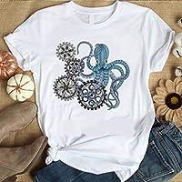 JUSTTIME Camiseta Estampada Blanca para Mujer, Camisa de Fondo, Jersey de Manga Corta, Cuello Redondo, Camiseta de Algodón Estilo CoreanoComo se muestra, XS