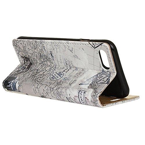 Voguecase® Pour Apple iPhone 7 4,7 Coque, Étui en cuir synthétique chic avec fonction support pratique pour iPhone 7 4,7 (Litchi grain Pourpre)de Gratuit stylet l'écran aléatoire universelle arc de triomphe