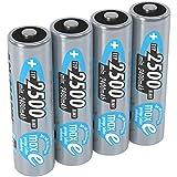 ANSMANN Akku AA Mignon 2500 mAh 1,2V NiMH 4 Stück für Geräte mit hohem Stromverbrauch - Wiederaufladbare Batterien maxE - Akkus für Spielzeug, Wii & Xbox Controller uvm - Rechargeable Battery