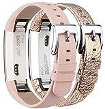 Tobfit Kompatibel mit Fitbit Alta Armband Fitbit Alta HR Armband (2 Pack) Lederarmband Edelstahl Schnalle Ersatzarmbänder für Fitbit Alta und Fitbit Alta HR (Kein Tracker) (Rosa & Rose Gold)
