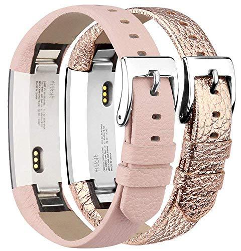 Tobfit Bracelets Compatible avec Fitbit Alta de Replacement Cuir Bracelets (2 Pack) Fitbit Alta HR Bracelet Réglable élégant et Classique Bande pour Fitbit Alta et Fitbit Alta HR (Rose & Rose Gold)