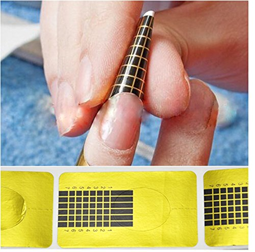 ewinever(TM) 1SET 100 X Ongles d'or Art Forms Tip Guide Sculpting Stickers Salon Gel Acrylique