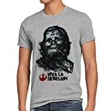 style3 Viva La Rebelion T-Shirt Herren rebellion guevara revolution, Größe:LFarbe:Grau meliert