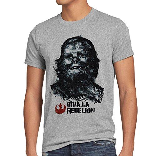 Herren-solo-star (style3 Viva La Rebelion T-Shirt Herren rebellion guevara revolution, Größe:M, Farbe:Grau meliert)