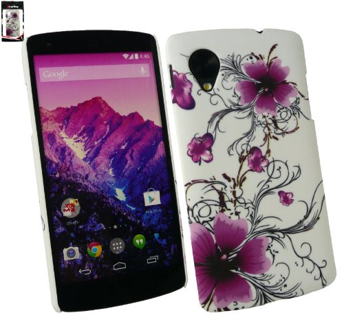 Emartbuy Violet Flowers Clip On Protection Case / Cover / Skin For LG Google Nexus 5  available at amazon for Rs.149