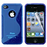 Gadgeo Blue Gel Silicone TPU Case Cover for Apple iPhone 4 & 4S with Screen Protector and Cleaning Cloth