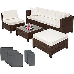 TecTake Conjunto Muebles de Jardín en Poly Ratán Aluminio, marrón + 2 Set de Fundas Intercambiables + Tornillos de Acero Inoxidable