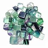 ETHAN 100G natürlicher Fluorit-Kristall-Flussspat-KieselsteinQuarz rohen Edelstein Mineral Probe Garten Dekoration Energie Stone.100G