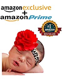 Needybee Soft Lace Leopard Print Newborn Baby Girls Headband With Red Net Flower Stitched On Top