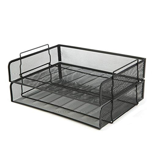 Vertikaler Desktopsortierer Metall-Desktop-Datei Regal Zwei-Layer-Datenablage A4 Finishing Tray Storage Rack Korb (Color : Black, Größe : 36.5 * 24 * 9CM) -