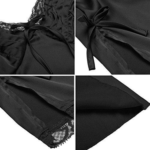 HOTOUCH Damen Nachthemd Schlafanzüge Kurz Nachtwäsche Nachtkleid Satin Set Träger Pyjama Shorts Spitze Typ1-Schwarz
