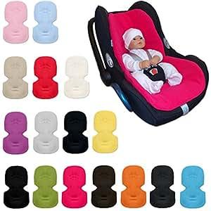 IvemaBaby EASY Coussin d'assise pour coque bébé/siège auto groupe 0 / 0+ tels que Maxi Cosi CabrioFix, Citi, Pebble, Cybex Aton avec une face été en coton et une face hiver en polaire système d'attache 3/5 points Turquoise Taille universelle