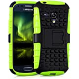 kwmobile Hybrid Outdoor Hülle für Samsung Galaxy S3 Mini mit Ständer - Dual TPU Silikon Hard Case Handy Hard Cover in Neon Grün