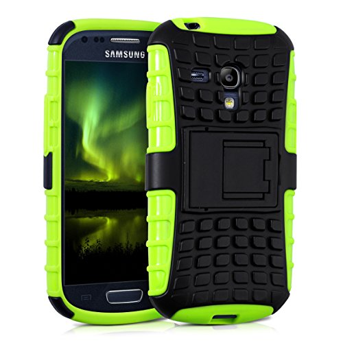 kwmobile Hybrid Outdoor Hülle für Samsung Galaxy S3 Mini mit Ständer - Dual TPU Silikon Hard Case Handy Hard Cover in Neon Grün (Hard Case Handy)