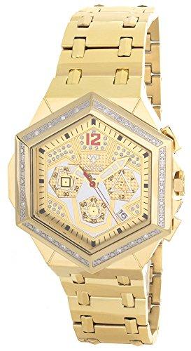 Aqua Master hombres del diamante bisel Gold-tone cronógrafo reloj W356