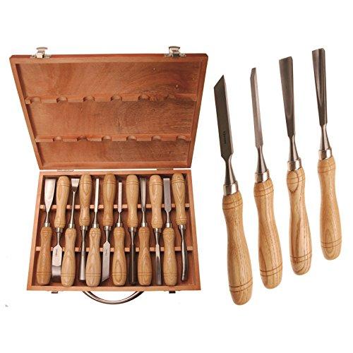 Preisvergleich Produktbild BGS Schnitzwerkzeug Satz 12-tlg Schnitzeisen Stecheisen Schnitzmesser Schnitzsatz Stechbeitel
