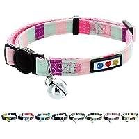 Pawtitas Collar de Gato Multicolor ajustable suave con hebilla de seguridad y cascabel removible Turquesa / Rosa / Morado