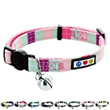 Pawtitas Collar de Gato Hebilla de Seguridad Collar de Gato con Campana Desmontable Collar de Gatito Turquesa/Rosa / Purpura Collar de Gato